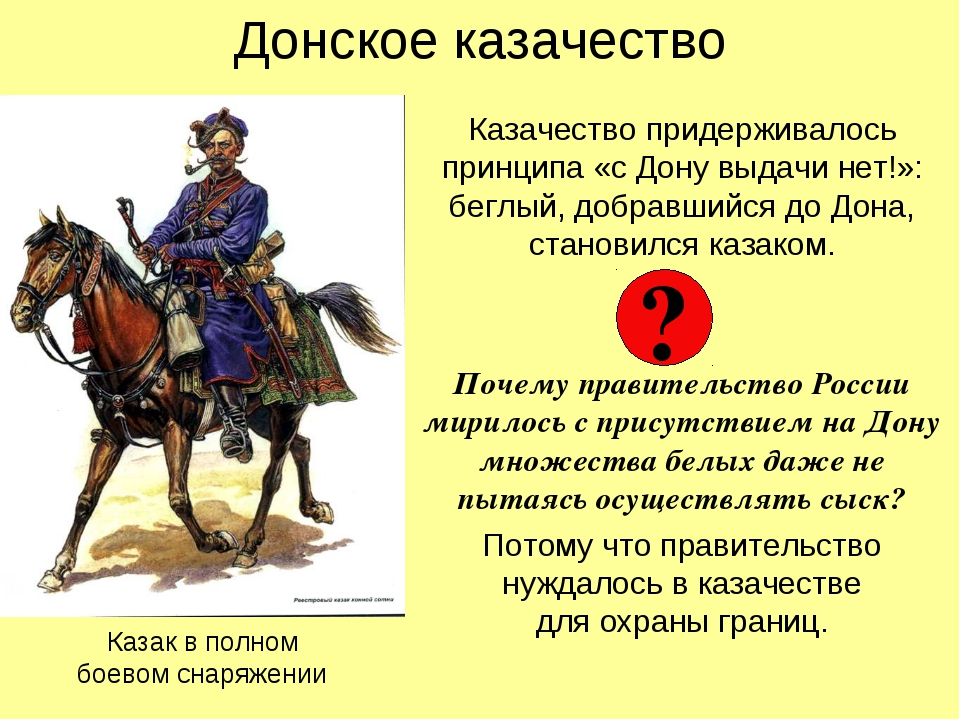 Донское казачество Казачество придерживалось принципа «с Дону выдачи нет!»: б...