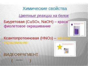 Химические свойства Цветные реакции на белок Биуретовая (CuSO4, NaOH) – красн