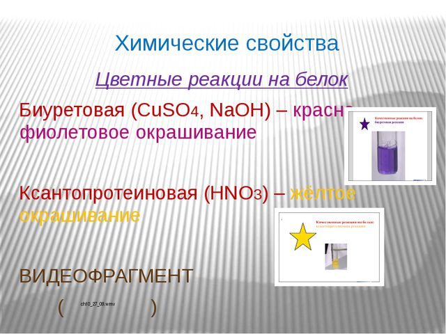 Химические свойства Цветные реакции на белок Биуретовая (CuSO4, NaOH) – красн...