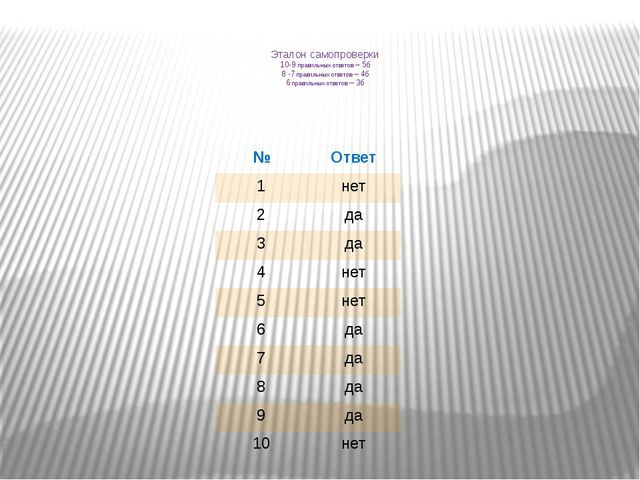Эталон самопроверки 10-9 правильных ответов – 5б 8 -7 правильных ответов – 4б...