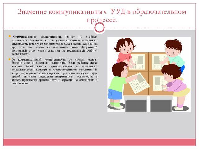 Значение коммуникативных УУД в образовательном процессе. Коммуникативная ком...