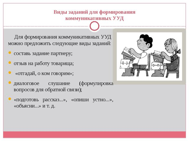 Виды заданий для формирования коммуникативных УУД Для формирования коммуникат...