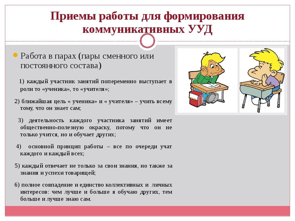 Приемы работы для формирования коммуникативных УУД Работа в парах (пары сменн...