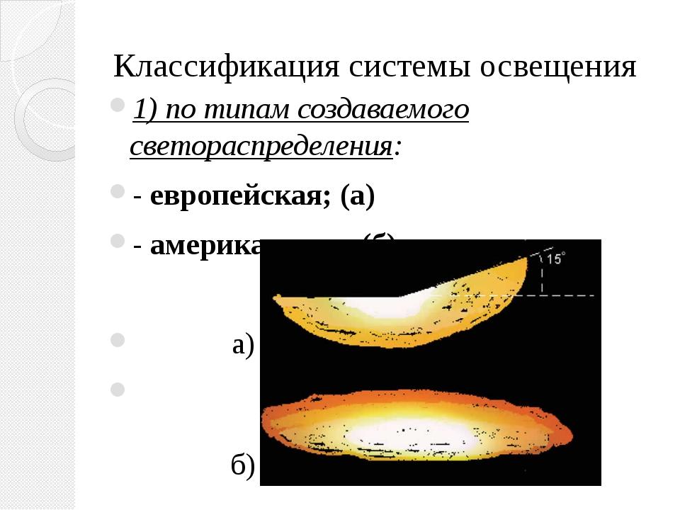 Классификация системы освещения 1) по типам создаваемого светораспределения:...
