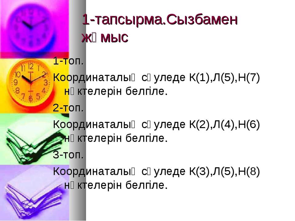 1-тапсырма.Сызбамен жұмыс 1-топ. Координаталық сәуледе К(1),Л(5),Н(7) нүктеле...