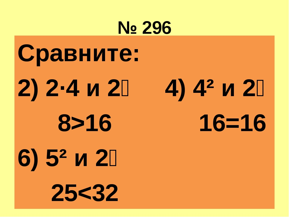 № 296 Сравните: 2) 2·4 и 2⁴ 4) 4² и 2⁴ 8>16 16=16 6) 5² и 2⁵ 25