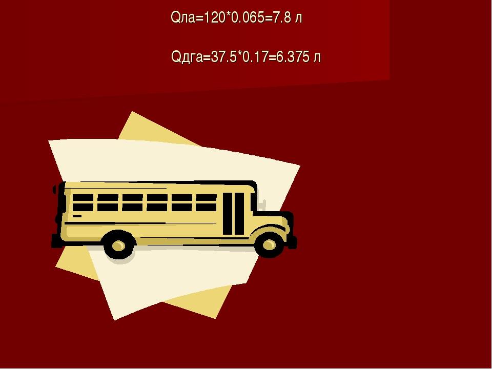 Qла=120*0.065=7.8 л Qдга=37.5*0.17=6.375 л