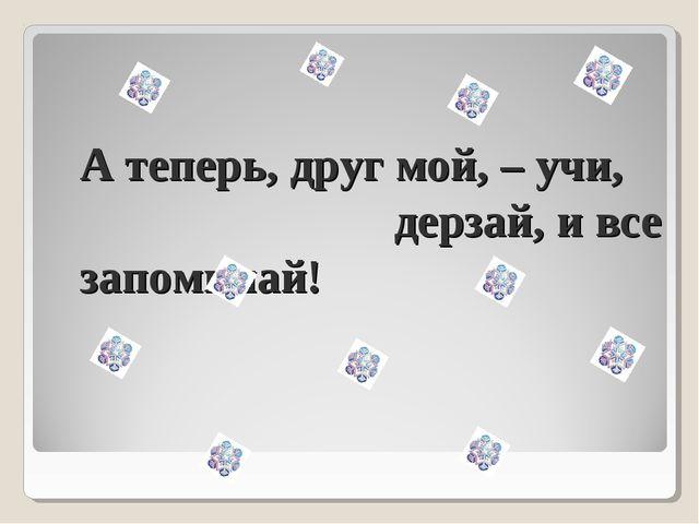 А теперь, друг мой, – учи, дерзай, и все запоминай!