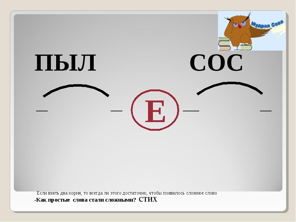 ПЫЛ СОС Е -Как простые слова стали сложными? стих Если взять два корня, то в...