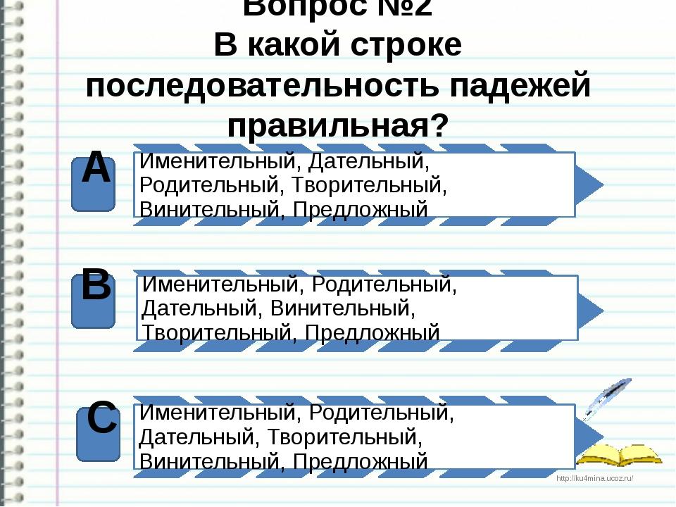 Вопрос №2 В какой строке последовательность падежей правильная? А В С http://...