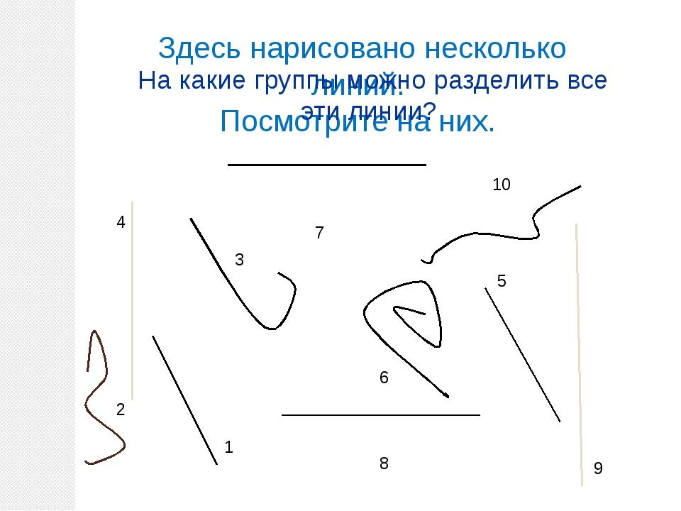 Здесь нарисовано несколько линий. Посмотрите на них. 10 5 6 4 8 7 1 2 3 9 На...