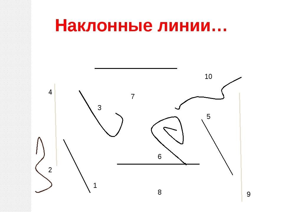 10 5 6 4 8 7 1 2 3 9 Наклонные линии…