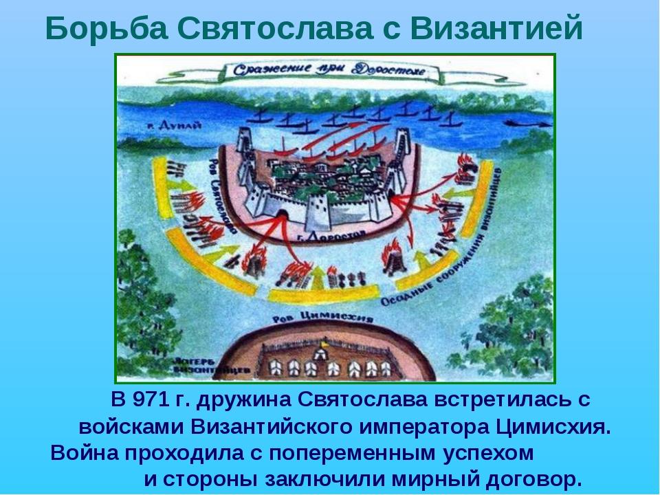 Борьба Святослава с Византией В 971 г. дружина Святослава встретилась с войс...