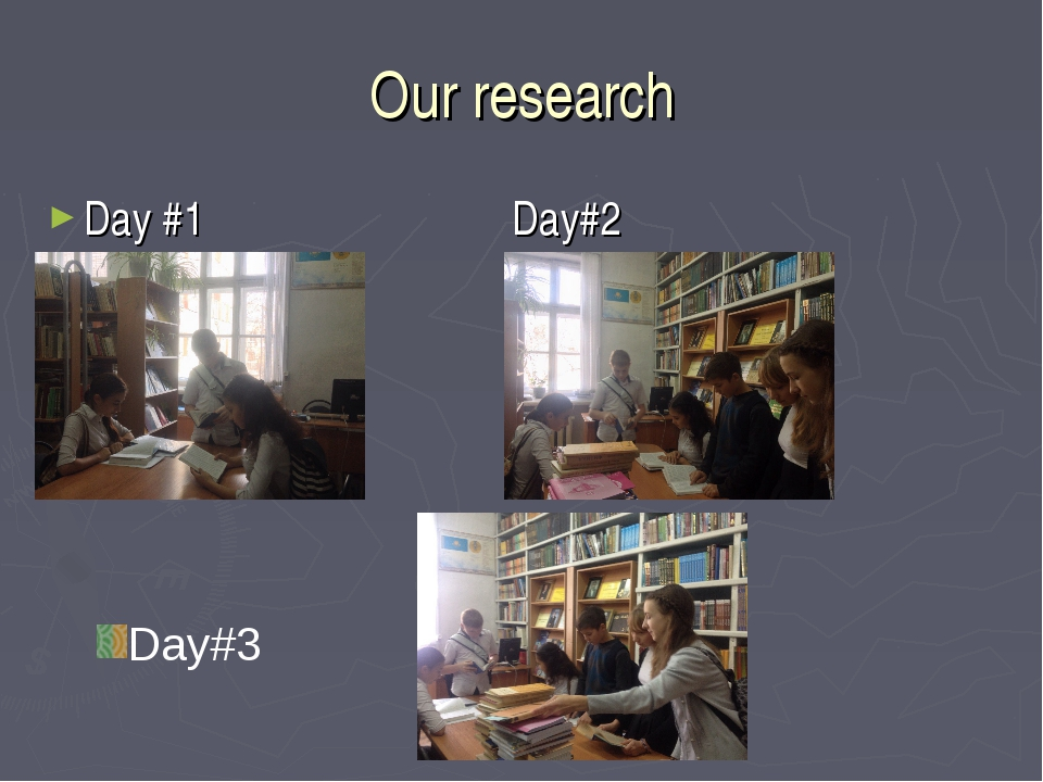 Our research Day #1 Day#2 Day#3