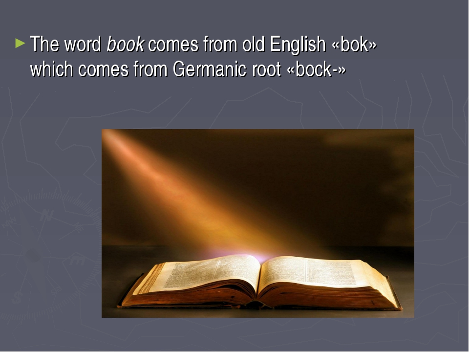 The word book comes from old English «bok» which comes from Germanic root «bo...