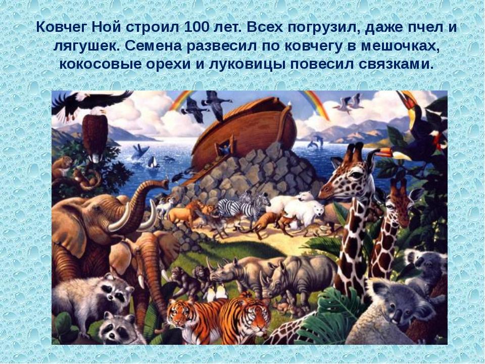 Ковчег Ной строил 100 лет. Всех погрузил, даже пчел и лягушек. Семена развеси...