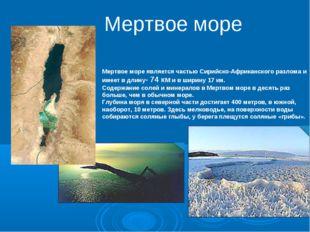 Мертвое море является частью Сирийско-Африканского разлома и имеет в длину-