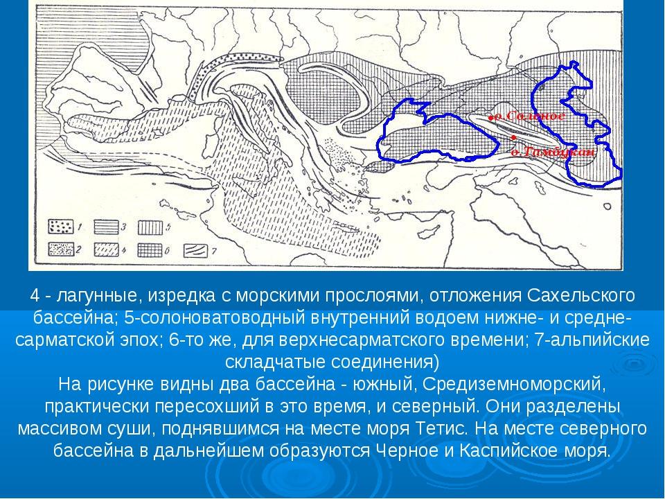 4 - лагунные, изредка с морскими прослоями, отложения Сахельского бассейна; 5...