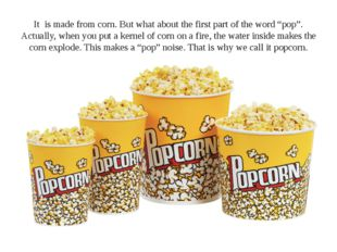 "It is made from corn. But what about the first part of the word ""pop"". Actual"