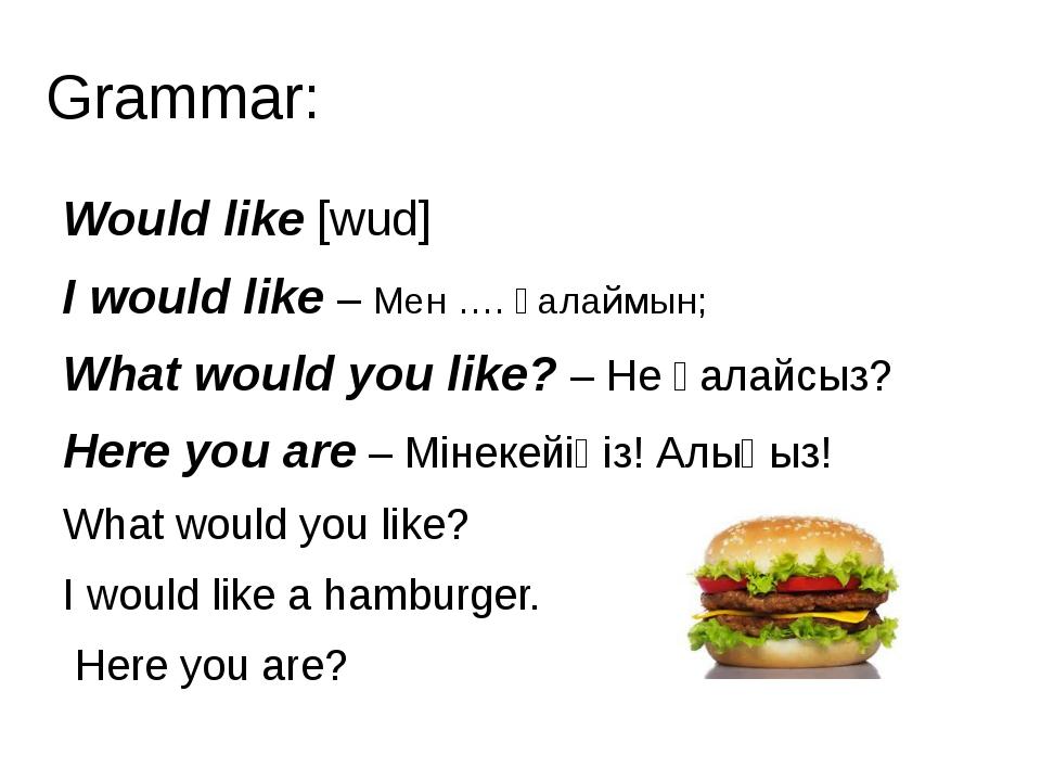 Grammar: Would like [wud] I would like – Мен …. қалаймын; What would you like...