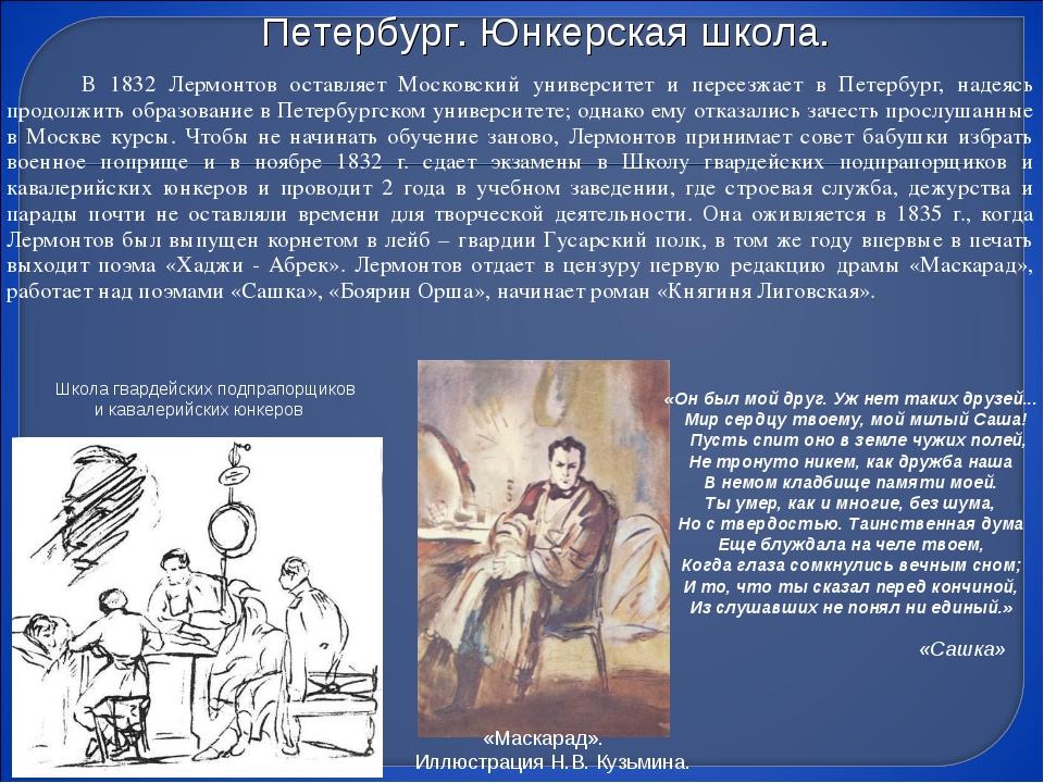 В 1832 Лермонтов оставляет Московский университет и переезжает в Петербург,...