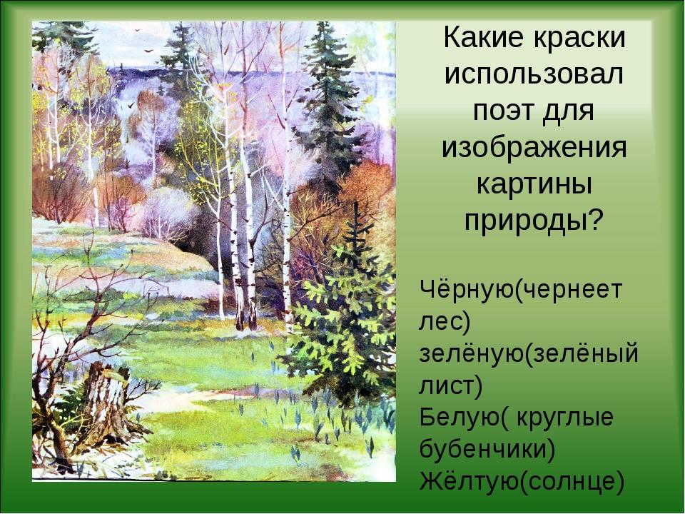 Какие краски использовал поэт для изображения картины природы? Чёрную(чернеет...