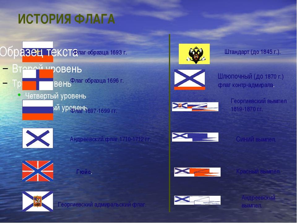 ИСТОРИЯ ФЛАГА Флаг образца 1693 г. Флаг образца 1696 г. Флаг 1697-1699 гг. Ан...