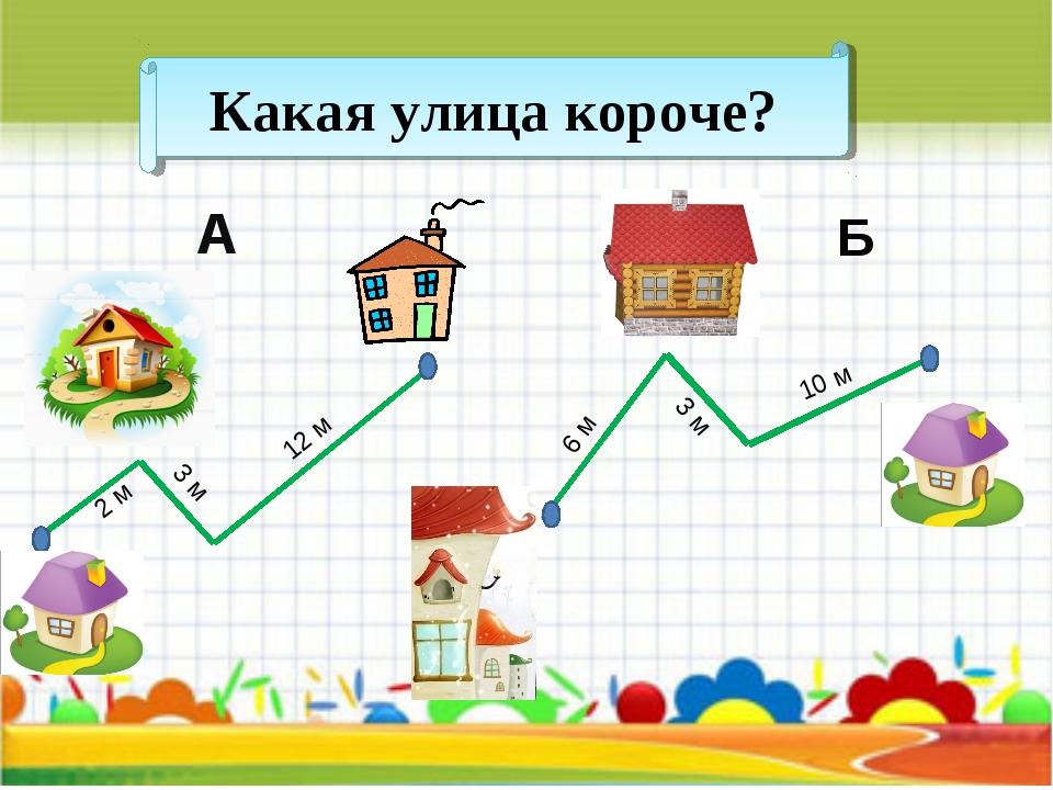 Какая улица короче? А Б 2 м 3 м 12 м 6 м 3 м 10 м