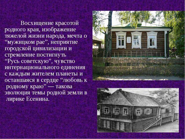 Восхищение красотой родного края, изображение тяжелой жизни народа, мечта о...