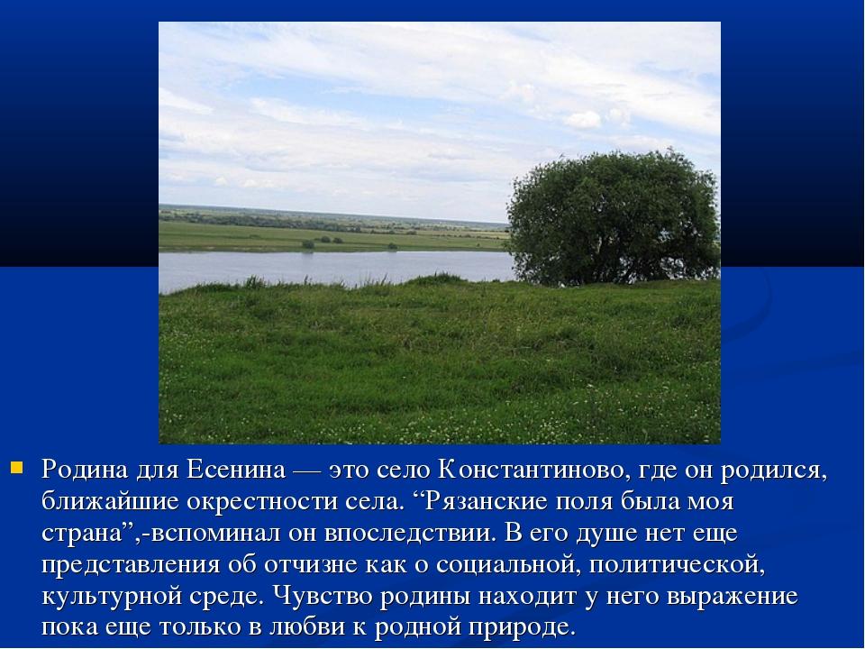 Родина для Есенина — это село Константиново, где он родился, ближайшие окрест...