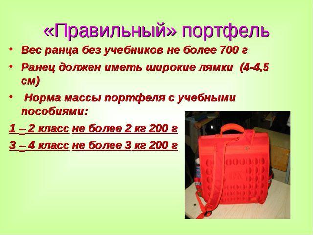 «Правильный» портфель Вес ранца без учебников не более 700 г Ранец должен име...