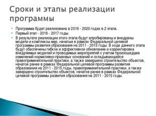 Программа будет реализована в 2016 - 2020 годах в 2 этапа. Первый этап - 2016