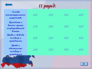 II раунд: Основы конституционного устройства100200300400 Президент и высш