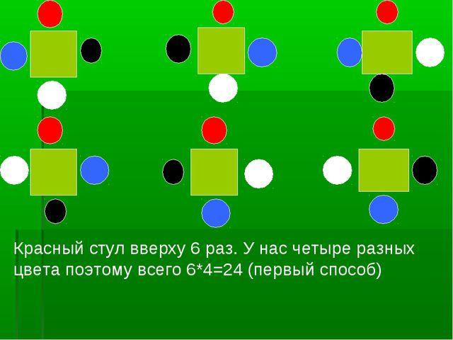 Красный стул вверху 6 раз. У нас четыре разных цвета поэтому всего 6*4=24 (пе...