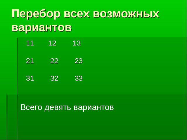 Перебор всех возможных вариантов 11 12 13 21 22 23 31 32 33 Всего девять вари...