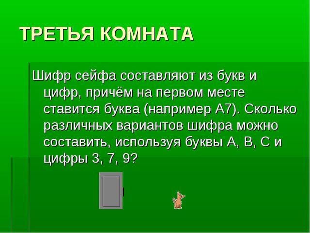 ТРЕТЬЯ КОМНАТА Шифр сейфа составляют из букв и цифр, причём на первом месте с...