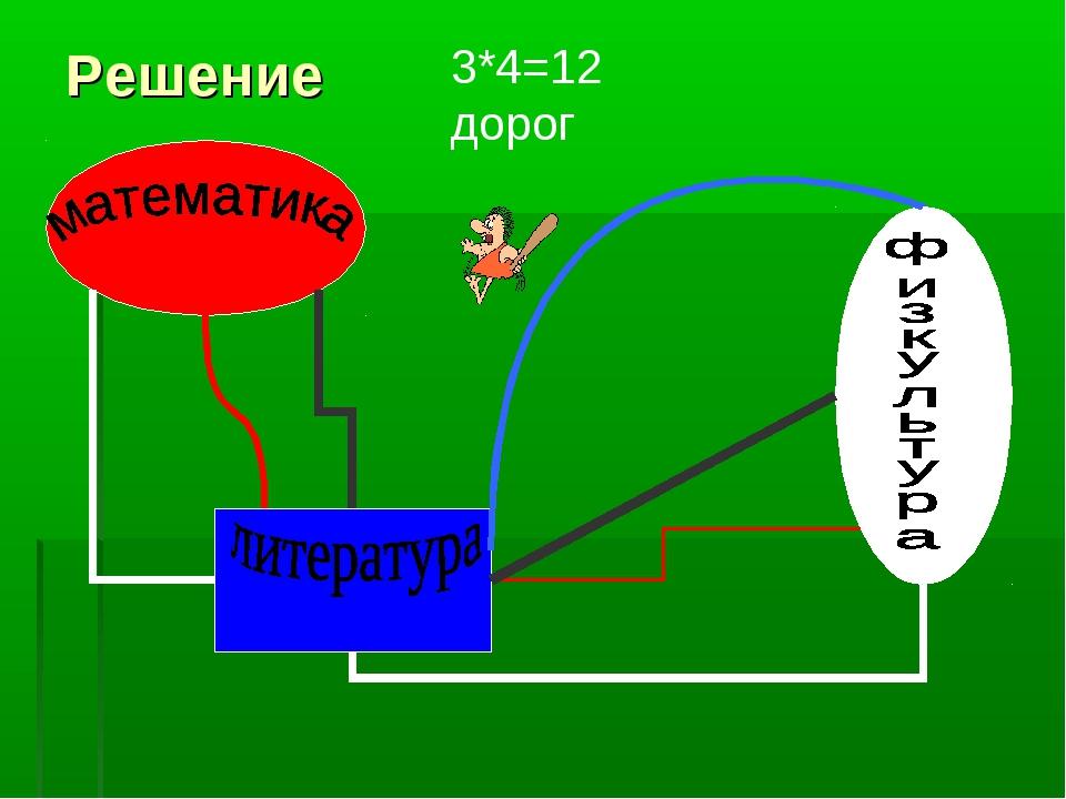 Решение 3*4=12 дорог