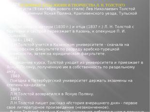 ОСНОВНЫЕ ДАТЫ ЖИЗНИ И ТВОРЧЕСТВА Л. Н. ТОЛСТОГО 1828. 28 августа (9 сентября