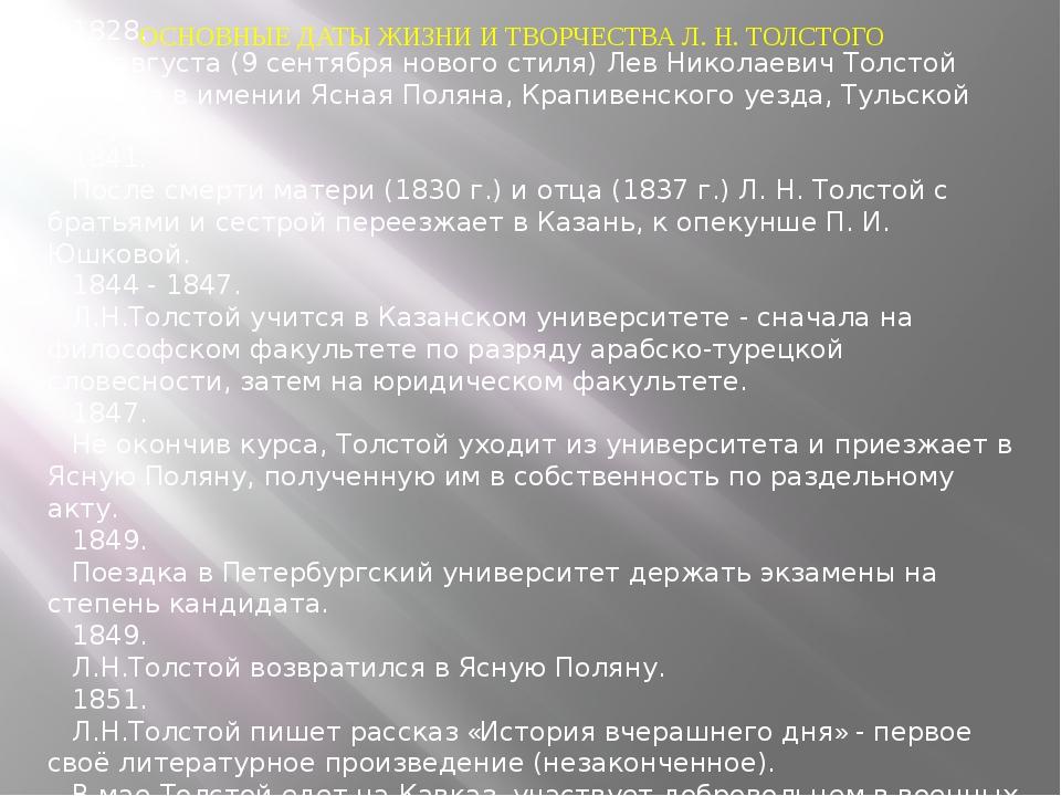 ОСНОВНЫЕ ДАТЫ ЖИЗНИ И ТВОРЧЕСТВА Л. Н. ТОЛСТОГО 1828. 28 августа (9 сентября...