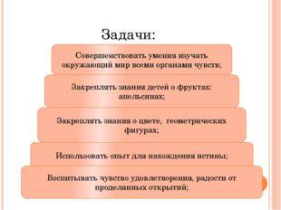 Задачи: Совершенствовать умения изучать окружающий мир всеми органами чувств;
