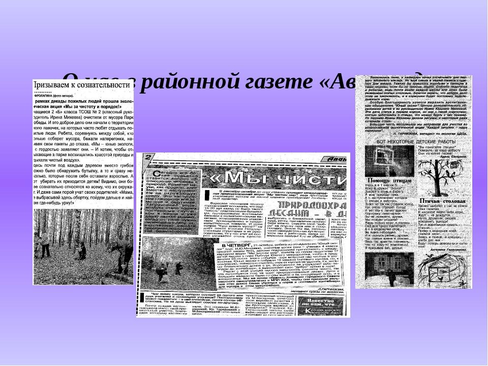 О нас в районной газете «Авангард»