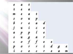 e a t t e a m e a t s o u p  b r e a d  j u i c e  a p p l e  s u g a r