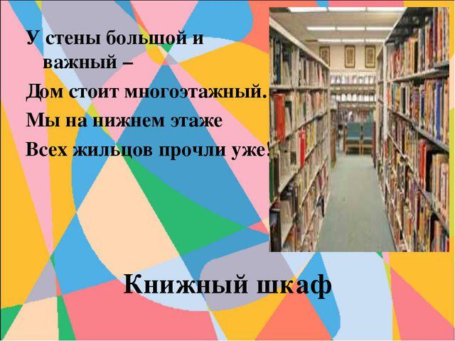 Книжный шкаф У стены большой и важный – Дом стоит многоэтажный. Мы на нижнем...