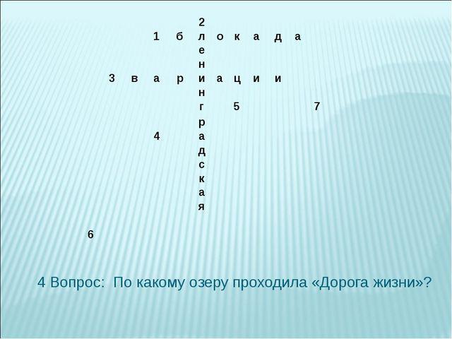 4 Вопрос: По какому озеру проходила «Дорога жизни»? 2 1бло...