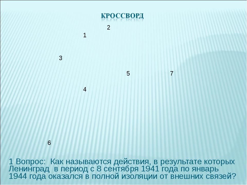 1 Вопрос: Как называются действия, в результате которых Ленинград в период с...