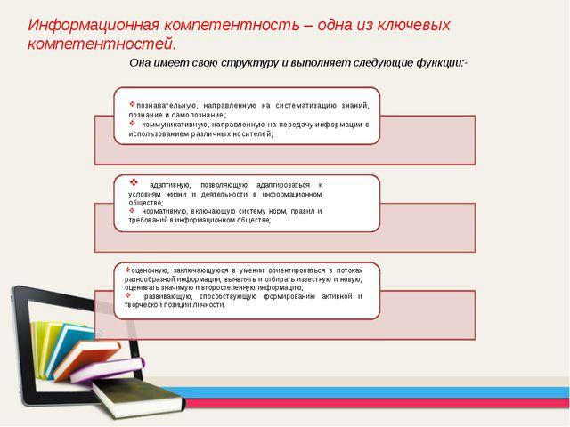 Информационная компетентность – одна из ключевых компетентностей. Она имеет с...