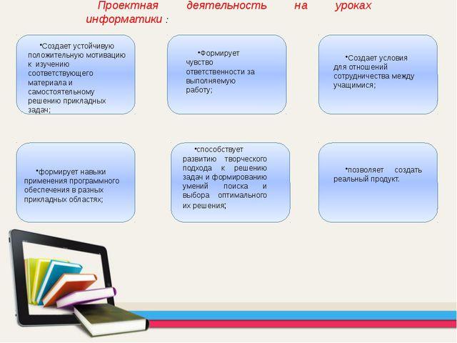 Проектная деятельность на уроках информатики : Создает устойчивую положительн...