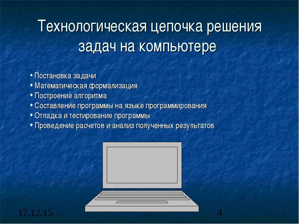 Технологическая цепочка решения задач на компьютере Постановка задачи Математ...