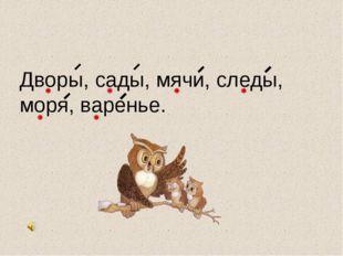 Дв…ры, с…ды, м…чи, сл…ды, м…ря, в…ренье. А о А о Я и Е и А о О а