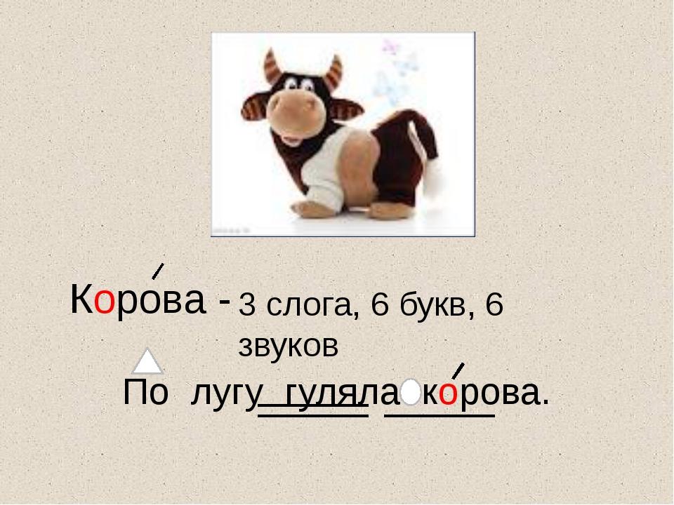 Корова - 3 слога, 6 букв, 6 звуков По лугу гуляла корова.